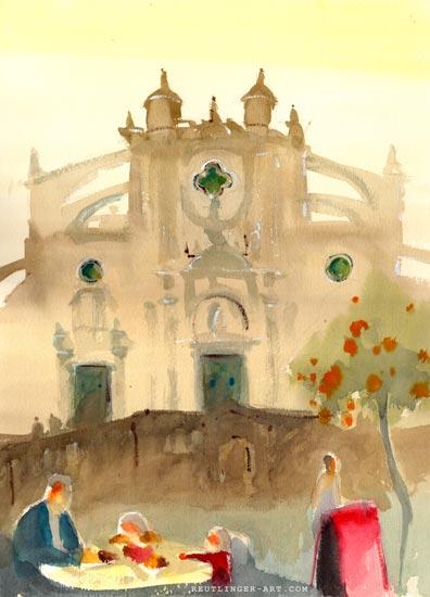 aquarelle cathedrale_saint_sauveur-jerez_frontera-17
