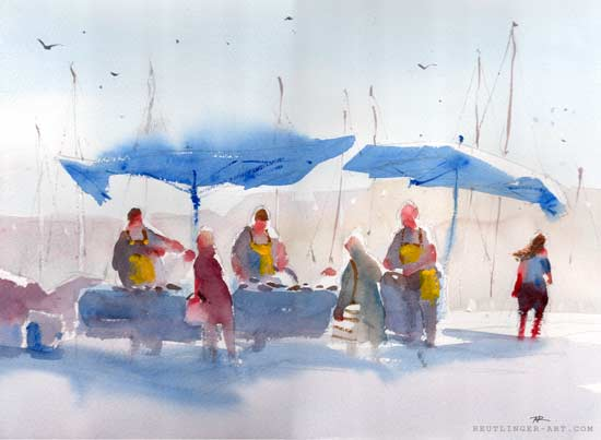 aquarelle de N.Reutlinger es pêcheurs d'Antibes