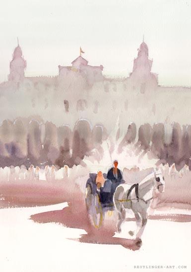 aquarelle de la place d'Espagne