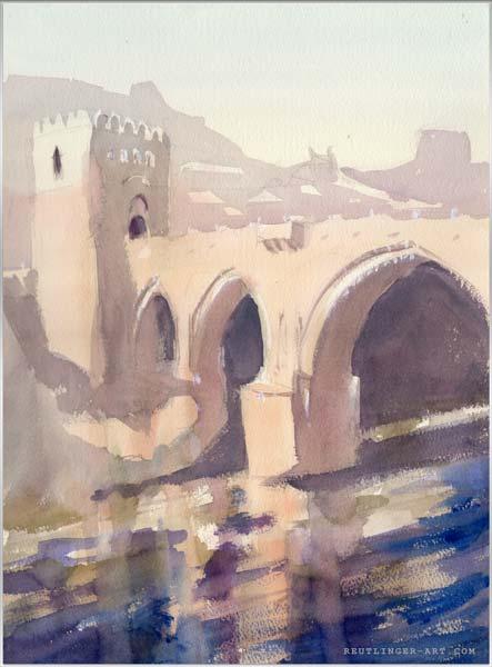 Aquarelle du Pont Saint Martin de Tolède