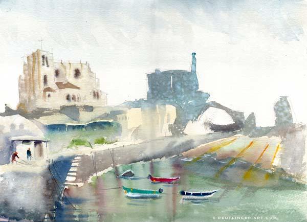 aquarelle du port-castro_urdiales