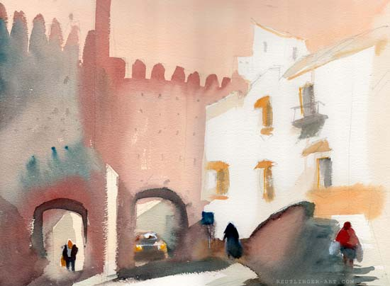 Aquarelle de la Porte de Séville à Carmona