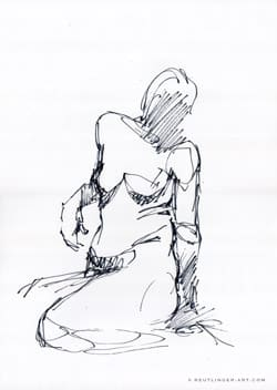 femme assise croquis