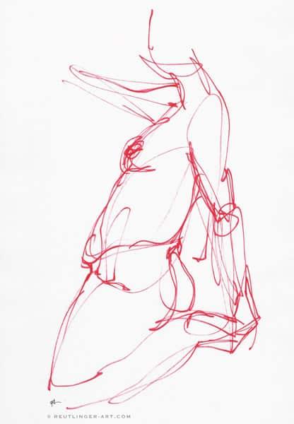 femme dessin au feutre rouge