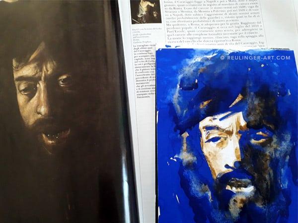 Caravage, reproduction à l'aquarelle-Davide_avec_tete_de_Golia
