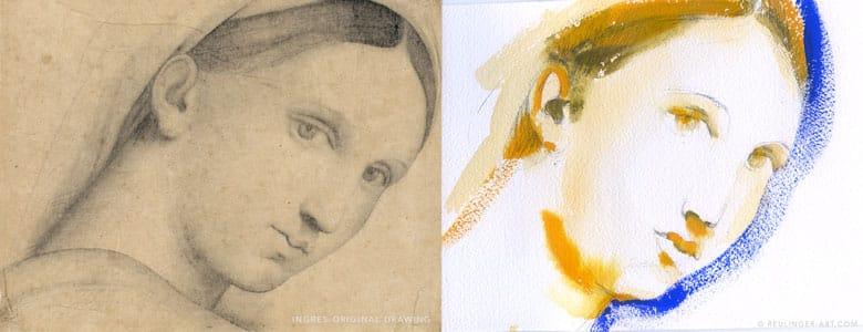 dessin d'Ingres et la copie de N.Reutlinger