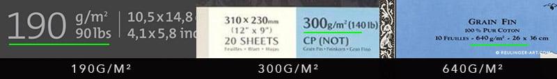 grammage du papier sur les pochettes de papiers aquarelle