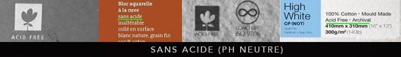 """mentions légales """"sans acide"""" sur les pochettes de papier aquarelle"""