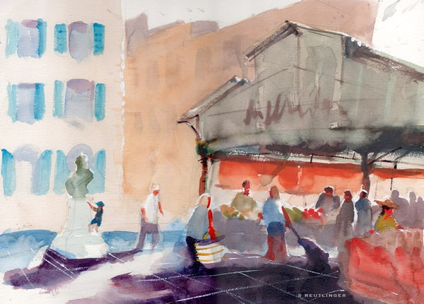aquarelle du marché provençale d'Antibes