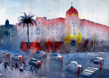 aquarelle du Negresco sous la pluie