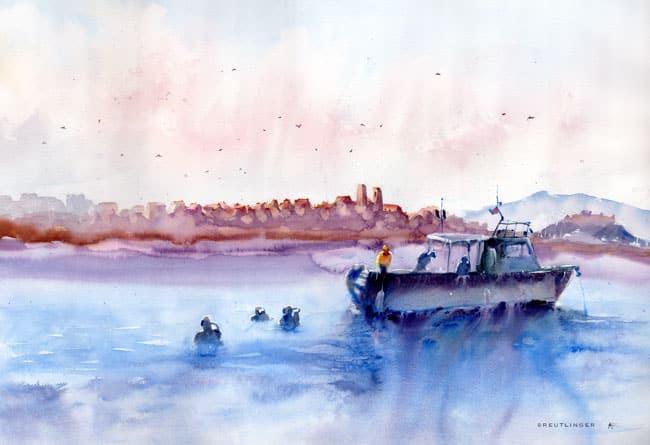aquarelle des de plongeurs devant le fort d'Antibes