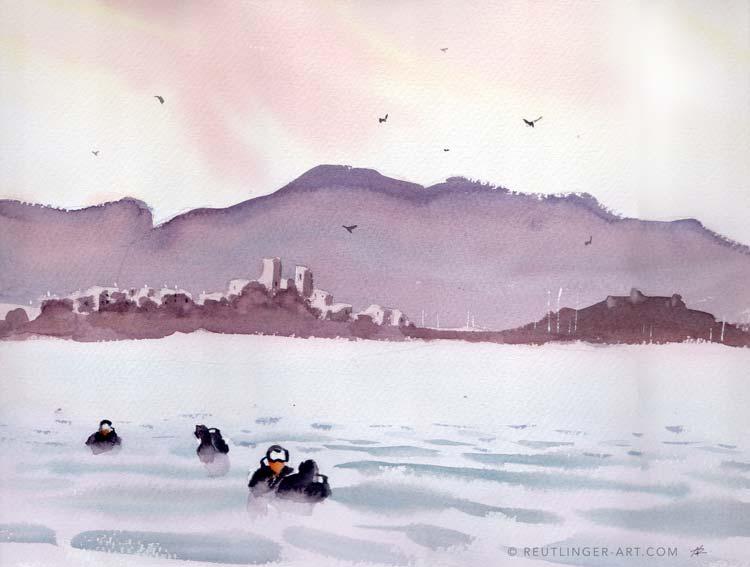 aquarelle des plongeurs avec un coucher de soleil