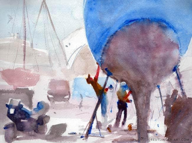 aquarelle du port vauban à antibes