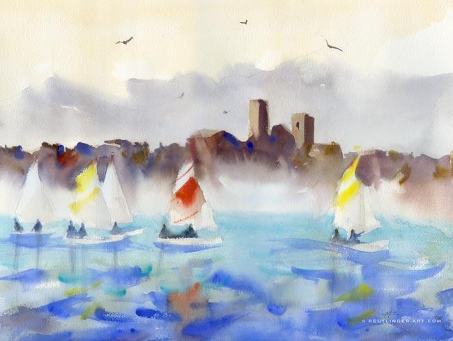 aquarelle des remparts d'Antibes et voilier