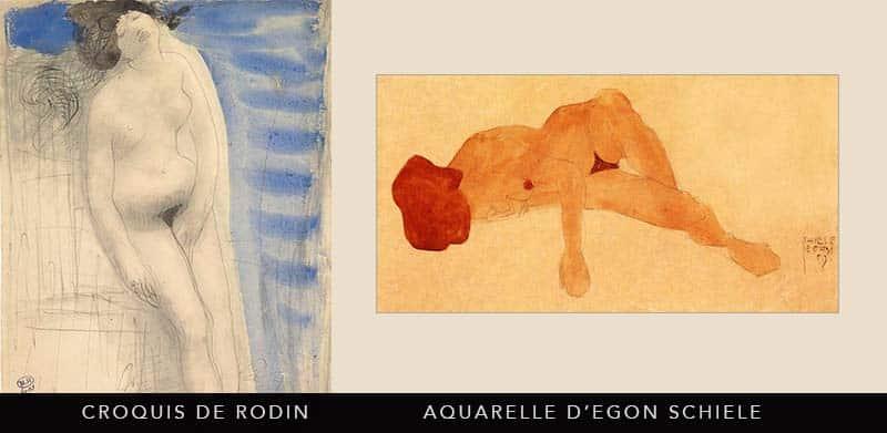 aquarelles de Rodin et Egon Schiele
