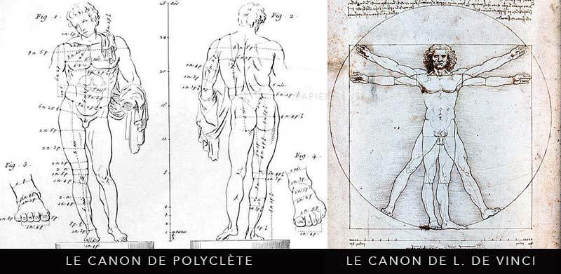 dessins des canons de Polyclète et Léonard De Vinci
