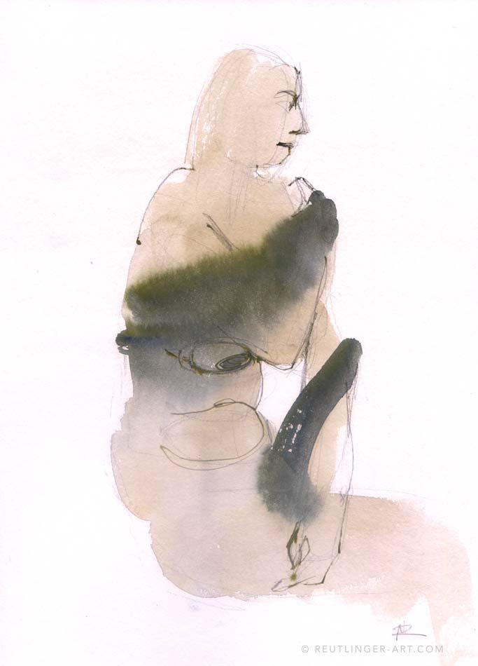 femme assise aquarelle