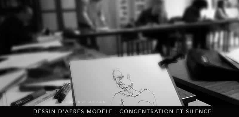 concentration extrème lors d'une séance de modèle vivant